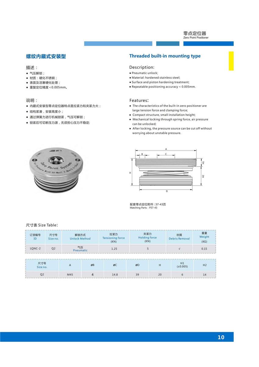 螺纹内藏式安装零点定位系统 第1张 螺纹内藏式安装零点定位系统 零点定位器